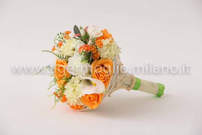 bouquet rose arancio e calle