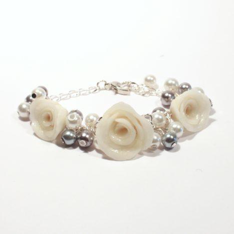 Bracciale cluster perle e rose