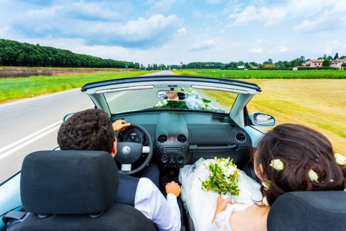 Auto cabrio degli sposi