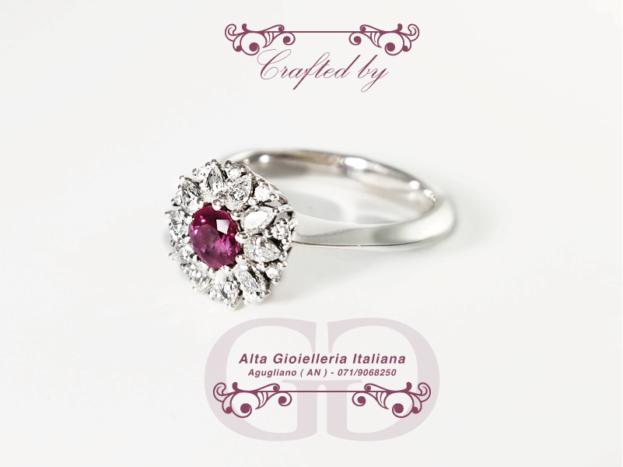 Anello diamanti e rubino
