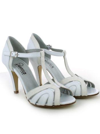 Sandalo con listini in pelle