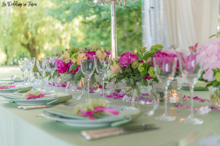 tavolo imperiale verde e rosa