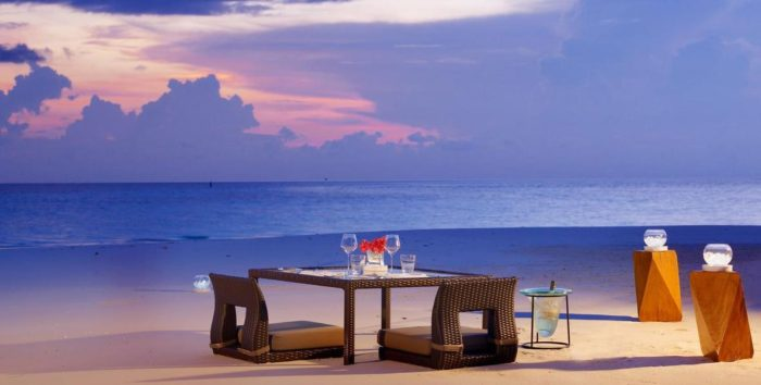 Maldive cena romantica
