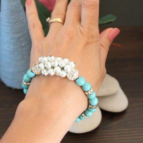 Bracciale turchese e perle