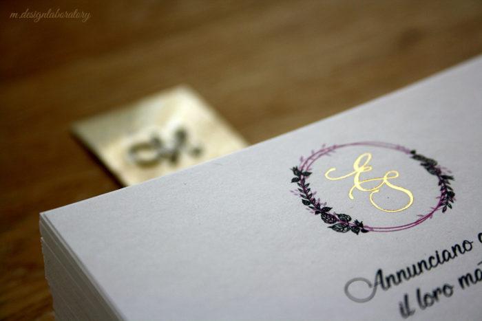 letter press gold foil
