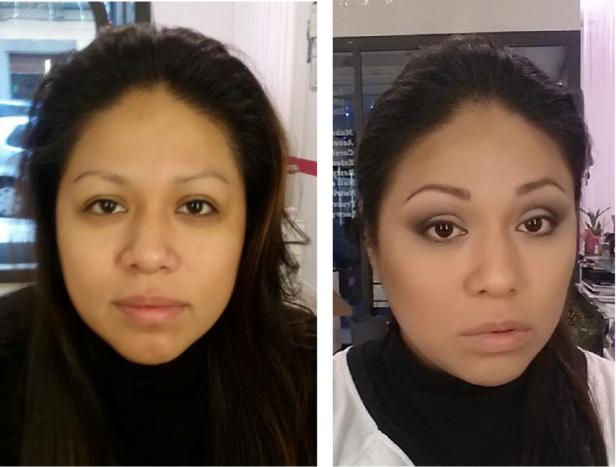 Prima&dopo ragazza di colore