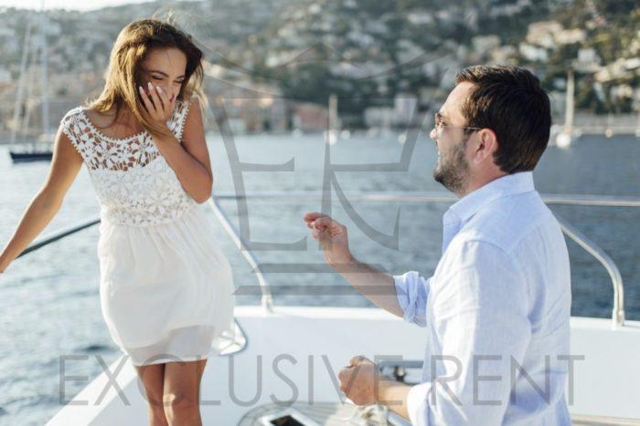 Romantic moment on Yacht