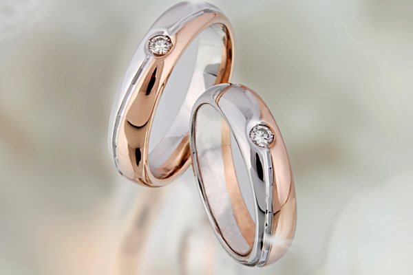 Fedi bicolore con diamante
