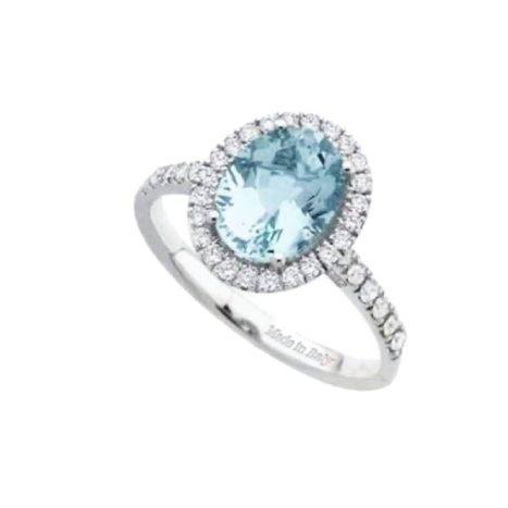 Anello diamanti e acqua marina