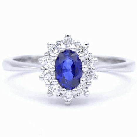Anello diamanti e zaffiro blu